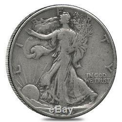 $10 Face Value 90% Silver Walking Liberty Half Dollars 20-Coin Roll (Circulated)