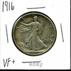 1916 50C Walking Liberty Half Dollar in VF+ Condition #04620