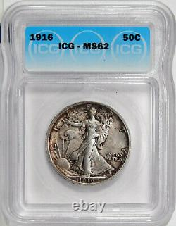 1916 50c ICG MS 62 UNCIRCULATED FIRST YEAR WALKING LIBERTY HALF DOLLAR