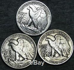 1916-D +1920-S +1939-S Walking Liberty Half Dollars -NICE LOT- #V512BBB