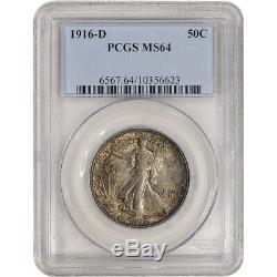 1916-D US Walking Liberty Silver Half Dollar 50C PCGS MS64