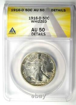 1916-D Walking Liberty Half Dollar 50C Coin ANACS AU50 Details Rare Date