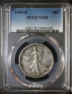 1916 D Walking Liberty Half Dollar PCGS VF20, Key Date