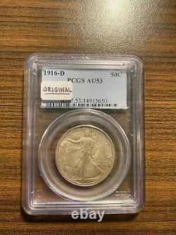 1916-D Walking Liberty Silver Half Dollar 50C PCGS AU 53 Original Walker