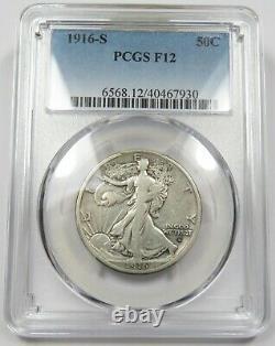 1916-S PCGS F12 Silver Walking Liberty Half Dollar US Coin Item #25901A