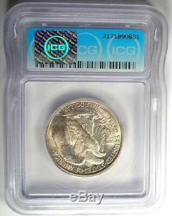 1916 Walking Liberty Half Dollar 50C ICG MS60 Details (UNC Uncirculated)