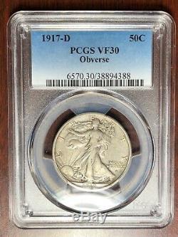 1917 D OBVERSE PCGS VF-30 Walking Liberty Half Dollar
