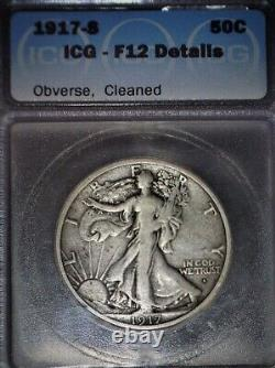 1917-S Obverse Walking Liberty Half Dollar, ICG F12, Tougher Date, Solid Coin