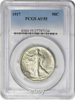 1917 Walking Liberty Silver Half Dollar AU55 PCGS