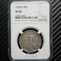 1918 D Walking Liberty Half Dollar NGC VF30 (31002)