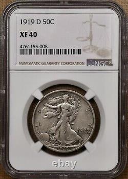1919-D Key date Walking Liberty half, NGC XF40, pleasing orig DavidKahnRareCoins