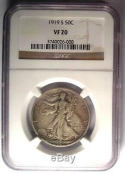 1919-S Walking Liberty Half Dollar 50C NGC VF20 Rare Key Certified Coin
