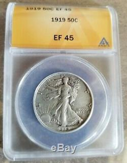 1919 p Walking Liberty Half Dollar ANACS EF-45 Extremely Nice & Rare