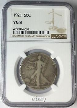 1921 50C Walking Liberty Half Dollar NGC VG8 #