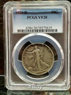 1921-D 50C Walking Liberty Half Dollar PCGS VF20