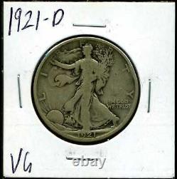 1921-D 50C Walking Liberty Half Dollar in VG Condition #00241