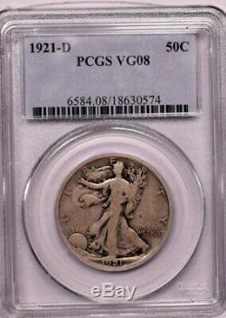 1921 D 50c Silver Walking Liberty Half Dollar PCGS VG 8