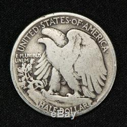 1921-D 50c WALKING LIBERTY HALF DOLLAR, VG COIN KEY DATE LOT#V085