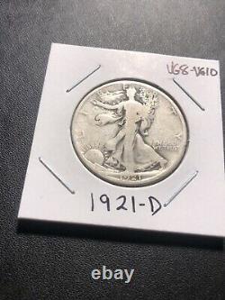 1921-D Denver Mint Silver Walking Liberty Half Dollar KEY DATE, VG. Nice Detai