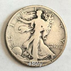 1921-D VG Walking Liberty silver half dollar. Small nick at Liberty's foot #ned1