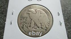 1921'D WALKING LIBERTY SILVER HALF DOLLAR in VERY GOOD condition. RARE DATE