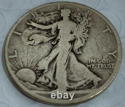 1921-D WALKING LIBERTY SILVER HALF F+ / VF Full Date And Rims Awesome Find