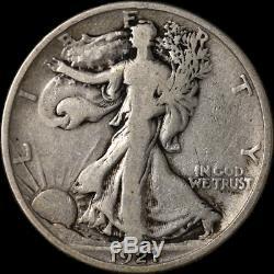 1921-D Walking Liberty Half Choice VG+ Key Date Great Eye Appeal Nice Strike