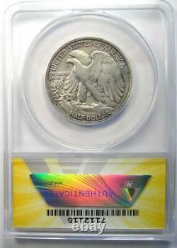 1921-D Walking Liberty Half Dollar 50C Certified ANACS VF25 Detail Rare Date