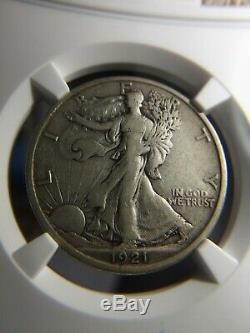 1921-D Walking Liberty Half Dollar NGC VF 30. Exceptional Detail. Key Date