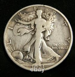 1921 D Walking Liberty Half Vg/fine