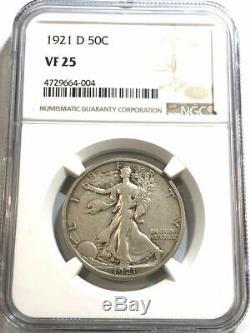 1921-D Walking Liberty Silver Half Dollar NGC VF 25