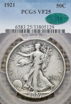 1921-P 50C PCGS VF25 CAC Walking Liberty Half Dollar Silver Key Date