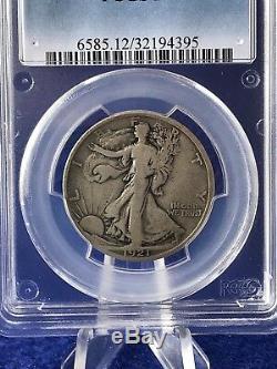 1921-S WALKING LIBERTY HALF DOLLAR 50c SEMI-KEY COIN PCGS F12 FINE