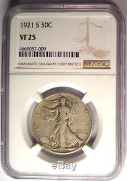 1921-S Walking Liberty Half Dollar 50C Certified NGC VF25 PQ $1,103 Value