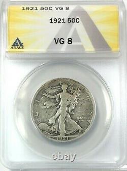 1921 Walking Liberty Half Dollar Silver 50C Circulated Very Good ANACS VG8