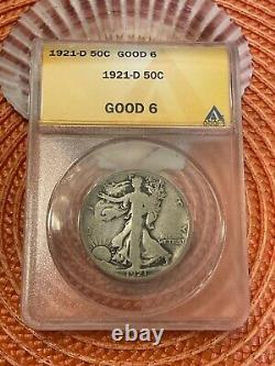 1921-d Walking Liberty Half, Anacs G-6, Key/semi-key, No Problem Coin, Gr8 Lk