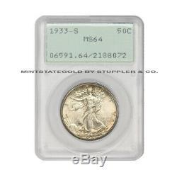 1933-S 50c Silver Walking Liberty PCGS MS64 Rattler San Francisco coin