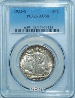 1933 S PCGS AU58 Walking Liberty Half Dollar