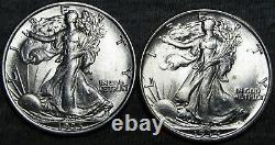1934+1935 Walking Liberty Half Dollars Silver - GEM BU++ CONDITION LOT - #Z446