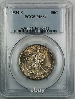 1934-S Walking Liberty Silver Half Dollar, PCGS MS-64 Gem BU Toned Coin