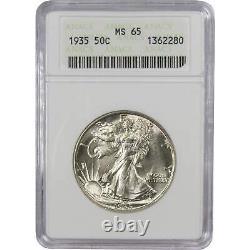 1935 Liberty Walking Half Dollar MS 65 ANACS 90% Silver 50c US Coin Collectible