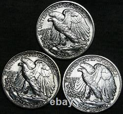 1936-D 1942 1943-D Walking Liberty Half Dollar Silver - GEM BU+ Lot - #F692