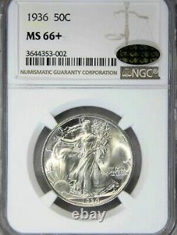 1936 P Walking Liberty Half Dollar NGC MS66+ CAC Blast White Superb Luster #73L