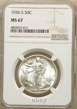 1936-S NGC Walking Liberty Half Dollar NGC MS 67