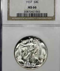 1937 P MS66 Walking Liberty Half Dollar 50c, NGC Graded
