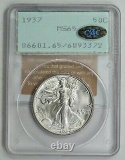 1937 Walking Liberty Half Dollar, PCGS Rattler MS65, Gold CAC sticker, Upgrade