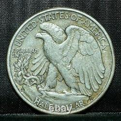1938 D WALKING LIBERTY HALF DOLLAR key date XF/AU