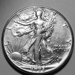 1938-D Walking Liberty Silver Half Dollar Nice AU