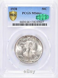 1938 Walking Liberty Half Dollar PCGS MS66+ Plus and CAC WOW! #BEY5