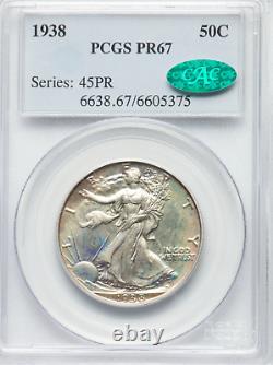 1938 Walking Liberty PCGS PF67, CAC Ultra Rare CAC Pop 135/8 CAC Price $1580
